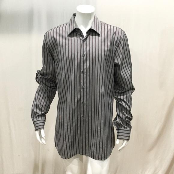 ad8d6a8f Prada Men's Gray Striped Dress Shirt